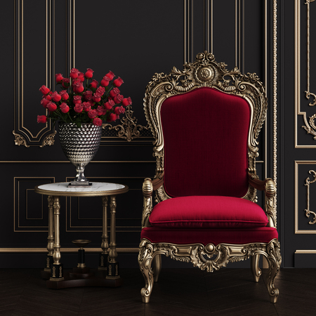 Classic carved armchair with arved details upholstered in red velvet in classic interior. Big vase with red roses on the classic table.Digital Illustration.3d rendering