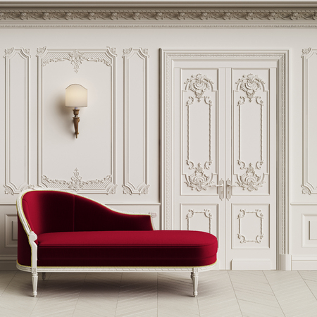Classic chaise longue in classic interior with copy space.Walls with mouldings,ornated cornice. Floor parquet herringbone.Classic door with decoration.Sconces on the wall.Digital Illustration.3d rendering Stock Photo