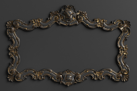 Classic moulding frame with ornament decor in black and gold colors. Digital illustration. 3d rendering Banque d'images - 119001785