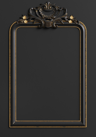 Classic moulding frame with ornament decor in black and gold colors. Digital illustration. 3d rendering