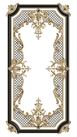 Classic moulding frame with ornament decor in black and gold colors isolated on white background. Digital illustration. 3d rendering Banque d'images - 119001796