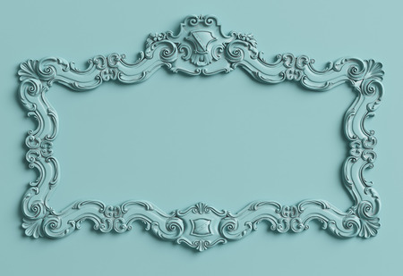Classic moulding frame with ornament decor in blue and silver colors isolated on white background. Digital illustration. 3d rendering Фото со стока