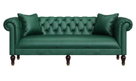 Classic Tufted Sofa In Green Leather Isolated On White Background ...