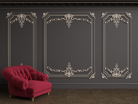 Classic red velvet armchair  in classic interior with copy space.Black walls with silvered mouldings,ornated cornice. Floor parquet herringbone.Digital Illustration.3d rendering