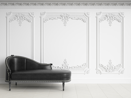 Classic chaise longue in classic white interior with copy space.Walls with mouldings,ornated cornice. Floor parquet herringbone.Digital Illustration.3d rendering