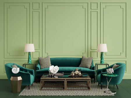 Classic interior in green colors with copy space. .Sofa, chairs, sidetables with lamps, table with decor. Walls with moldings. Floor parquet herringbone, rug with pattern.Digital ilustration.3d rendering Stock Photo