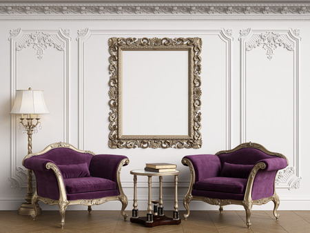 Classic armchairs in classic interior with empty classic frame on the wall with copy space.Walls with mouldings,ornated cornice. Floor parquet herringbone.Digital Illustration.3d rendering Standard-Bild - 124693989