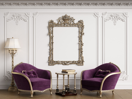 Classic armchairs in classic interior with empty classic frame on the wall with copy space.Walls with mouldings,ornated cornice. Floor parquet herringbone.Digital Illustration.3d rendering Standard-Bild - 124693993