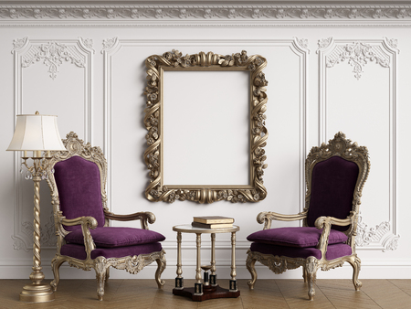 Classic armchairs in classic interior with empty classic frame on the wall with copy space.Walls with mouldings,ornated cornice. Floor parquet herringbone.Digital Illustration.3d rendering Standard-Bild - 124693995