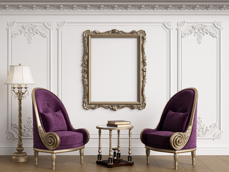 Classic armchairs in classic interior with empty classic frame on the wall with copy space.Walls with mouldings,ornated cornice. Floor parquet herringbone.Digital Illustration.3d rendering Standard-Bild - 124693997