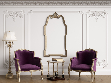 Classic armchairs in classic interior with empty classic frame on the wall with copy space.Walls with mouldings,ornated cornice. Floor parquet herringbone.Digital Illustration.3d rendering Standard-Bild - 124693999