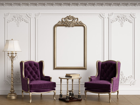 Classic armchairs in classic interior with empty classic frame on the wall with copy space.Walls with mouldings,ornated cornice. Floor parquet herringbone.Digital Illustration.3d rendering Standard-Bild - 124694056
