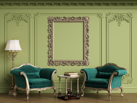 Classic armchairs in classic interior with empty classic frame on the wall with copy space.Walls with mouldings,ornated cornice. Floor parquet herringbone.Green Gamma.Digital Illustration.3d rendering Standard-Bild - 124694069