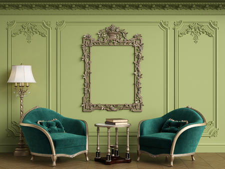 Classic armchairs in classic interior with empty classic frame on the wall with copy space.Walls with mouldings,ornated cornice. Floor parquet herringbone.Green Gamma.Digital Illustration.3d rendering Standard-Bild - 124694071
