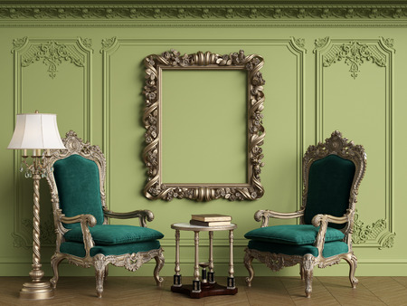 Classic armchairs in classic interior with empty classic frame on the wall with copy space.Walls with mouldings,ornated cornice. Floor parquet herringbone.Green Gamma.Digital Illustration.3d rendering Standard-Bild - 124694079
