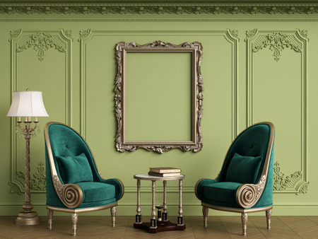Classic armchairs in classic interior with empty classic frame on the wall with copy space.Walls with mouldings,ornated cornice. Floor parquet herringbone.Green Gamma.Digital Illustration.3d rendering Standard-Bild - 124694073