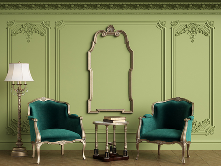 Classic armchairs in classic interior with empty classic frame on the wall with copy space.Walls with mouldings,ornated cornice. Floor parquet herringbone.Green Gamma.Digital Illustration.3d rendering Standard-Bild - 124694074