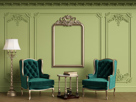 Classic armchairs in classic interior with empty classic frame on the wall with copy space.Walls with mouldings,ornated cornice. Floor parquet herringbone.Green Gamma.Digital Illustration.3d rendering Standard-Bild - 124694077