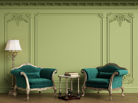 Classic armchairs in classic interior with empty classic frame on the wall with copy space.Walls with mouldings,ornated cornice. Floor parquet herringbone.Green Gamma.Digital Illustration.3d rendering Standard-Bild - 124694078