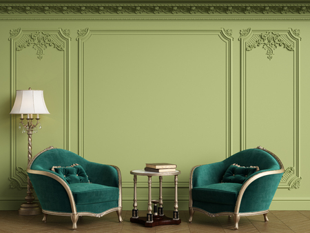 Classic armchairs in classic interior with empty classic frame on the wall with copy space.Walls with mouldings,ornated cornice. Floor parquet herringbone.Green Gamma.Digital Illustration.3d rendering Standard-Bild - 124694080