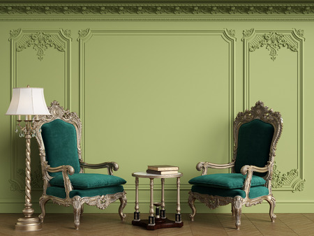 Classic armchairs in classic interior with empty classic frame on the wall with copy space.Walls with mouldings,ornated cornice. Floor parquet herringbone.Green Gamma.Digital Illustration.3d rendering Standard-Bild - 124694082