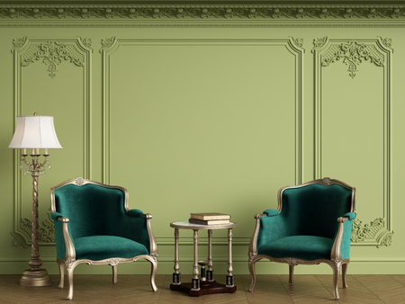 Classic armchairs in classic interior with empty classic frame on the wall with copy space.Walls with mouldings,ornated cornice. Floor parquet herringbone.Green Gamma.Digital Illustration.3d rendering Standard-Bild - 124694084