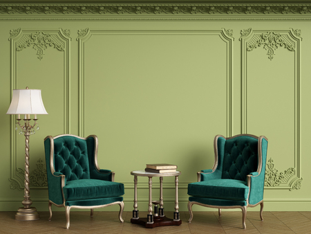 Classic armchairs in classic interior with empty classic frame on the wall with copy space.Walls with mouldings,ornated cornice. Floor parquet herringbone.Green Gamma.Digital Illustration.3d rendering