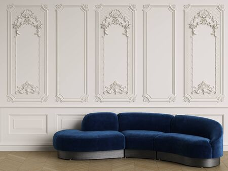 Classic sofa in deep blue velvet in classic interior with copy space.Walls with ornated mouldings,floor parquet herringbone.Digital Illustration.3d rendering Stockfoto