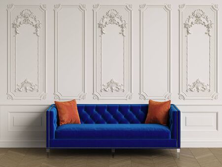 Classic sofa in blue velvet with 2 orange pillows in classic interior with copy space.Walls with ornated mouldings,floor parquet herringbone.Digital Illustration.3d rendering