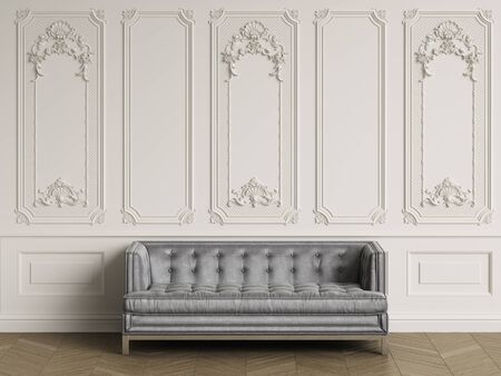 Classic sofa in gray silk in classic interior with copy space.Walls with ornated mouldings,floor parquet herringbone.Digital Illustration.3d rendering