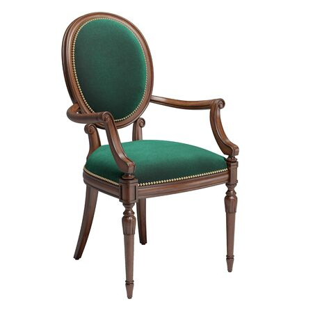Classic chair in green velvet i with carved details isolated on white background.Digital illustration.3d rendering Banque d'images - 131830871