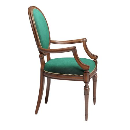 Classic chair in green velvet i with carved details isolated on white background.Digital illustration.3d rendering