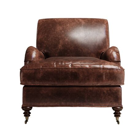 Classic armchair in brown vintage leather isolated on white background.Digital illustration.3d rendering 写真素材