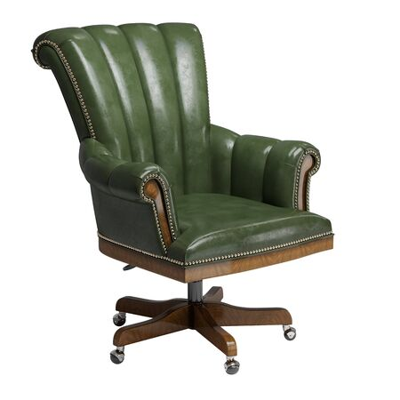 Classic desk chair  in green vintage leather isolated on white background.Digital illustration.3d rendering Banque d'images - 131830891