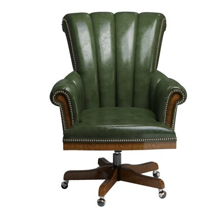 Classic desk chair  in green vintage leather isolated on white background.Digital illustration.3d rendering
