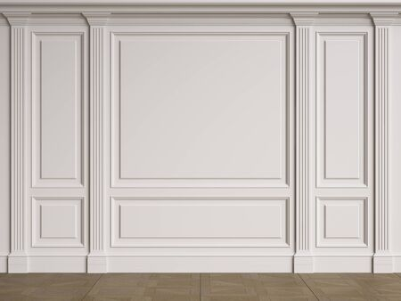 Classic interior walls with copy space.Walls with mouldings and pillastras. Floor parquet.Digital Illustration.3d rendering