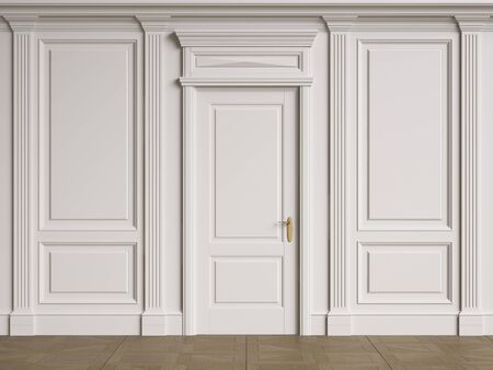 Classic interior walls with copy space.Walls with mouldings and pillastras.Classic doors.Floor parquet.Digital Illustration.3d rendering