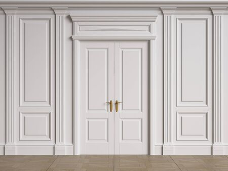 Classic interior walls with copy space.Walls with mouldings and pillastras. Classic door.Floor parquet.Digital Illustration.3d rendering