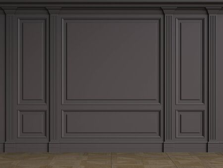 Classic interior walls with copy space.Black walls with mouldings and pillastras. Floor parquet.Digital Illustration.3d rendering 写真素材