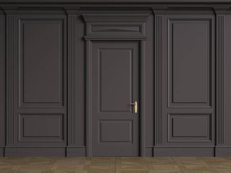 Classic interior walls with copy space.Black walls with mouldings and pillastras.Classic door. Floor parquet.Digital Illustration.3d rendering 版權商用圖片