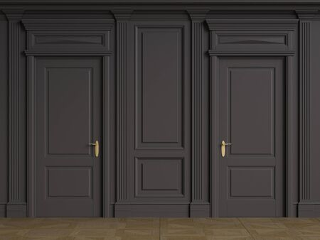 Classic interior walls with copy space.Black walls with mouldings and pillastras.Classic doors. Floor parquet.Digital Illustration.3d rendering