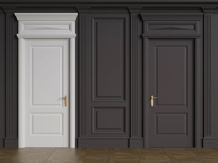 Classic interior walls with copy space.White door in black interior.Floor parquet.Digital Illustration.3d rendering