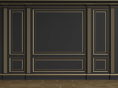 Classic interior walls with copy space.Black walls with mouldings and pillasters.Floor parquet.Digital Illustration.3d rendering 写真素材
