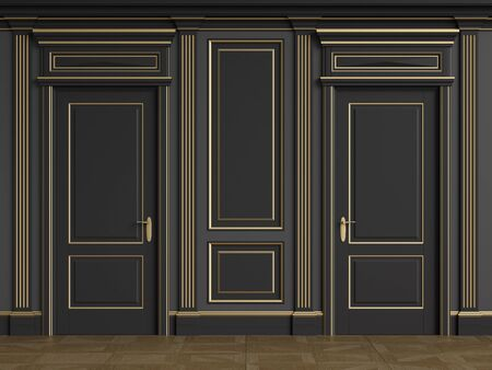 Classic interior walls with copy space.Black walls with mouldings and pillasters.Classic door. Floor parquet.Digital Illustration.3d rendering 写真素材