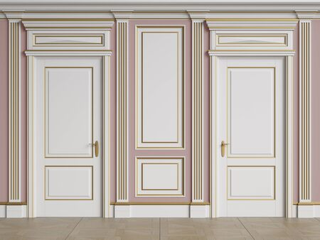Classic interior walls with copy space.Walls with mouldings and pillasters.Classic doors.Floor parquet.Digital Illustration.3d rendering 写真素材