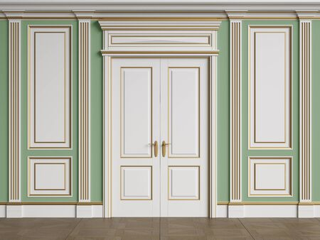 Classic interior walls with copy space.Walls with mouldings and pillasters.Classic door.Floor parquet.Digital Illustration.3d rendering 写真素材