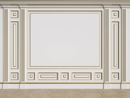 Classic interior walls with copy space.Walls with mouldings and pillasters.Floor parquet.Digital Illustration.3d rendering