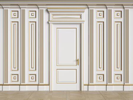 Classic interior walls with copy space.Walls with mouldings and pillasters.Classic door.Floor parquet.Digital Illustration.3d rendering 版權商用圖片
