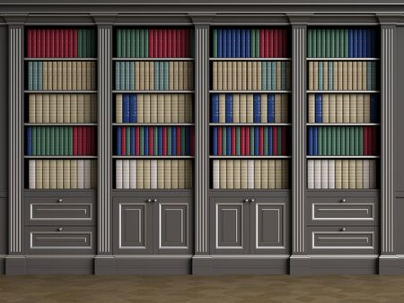 Classic library cabinet with books in different colors.Black and silver.Floor parquet.Digital Illustration.3d rendering