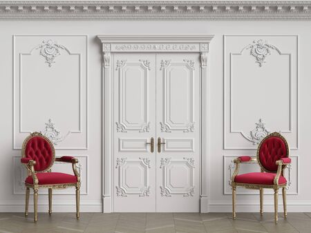 Classic carver chairs in gold and red in classic interior with copy space.White walls with ornated mouldings and classic cornice.Classic door.Floor parquet.Digital Illustration.3d rendering